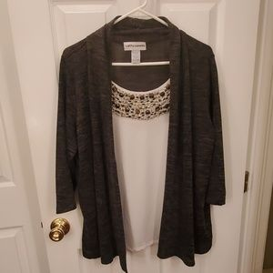 Tank top with cardigan attached